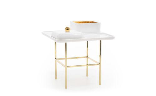 contemporary table / iron / iron base / rectangular