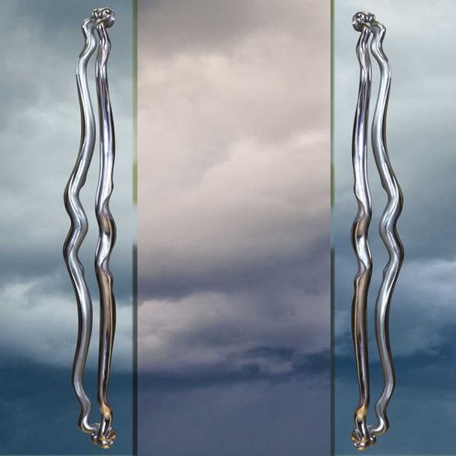 glass door pull handle / stainless steel / contemporary