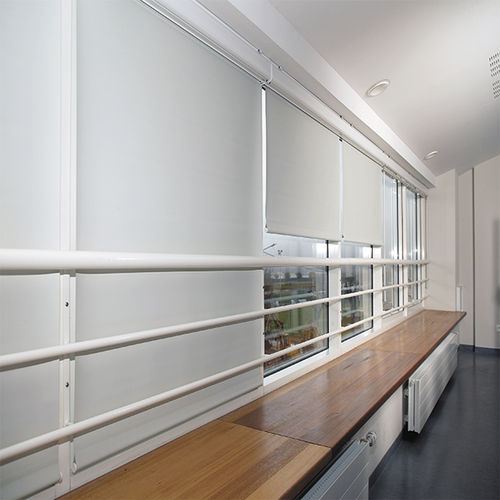solar protection fabric / for roller blinds / plain / polyester