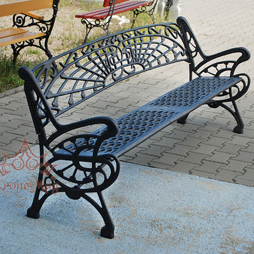 public bench / traditional / cast iron / with backrest