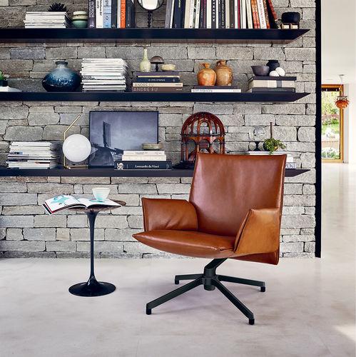 contemporary armchair / fabric / leather / aluminium