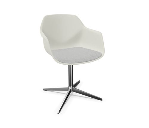 contemporary restaurant chair / with armrests / upholstered / star base