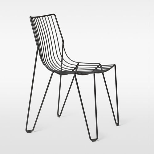 contemporary garden chair / stackable / wire / white