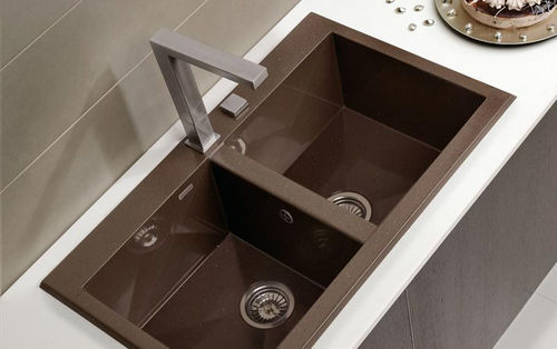 double kitchen sink / composite / square