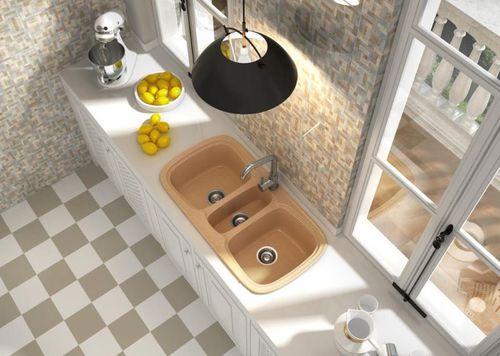 triple-bowl kitchen sink / composite