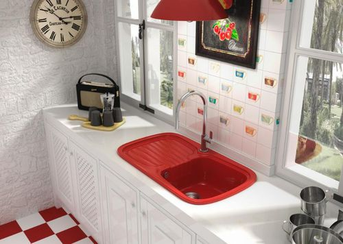 single-bowl kitchen sink / composite / with drainboard
