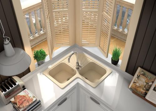 double kitchen sink / composite / corner / with drainboard
