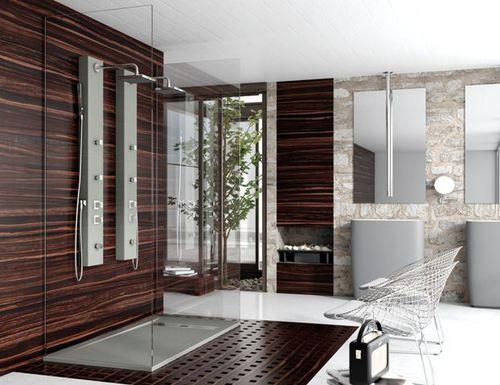 rectangular shower base / floor level / composite