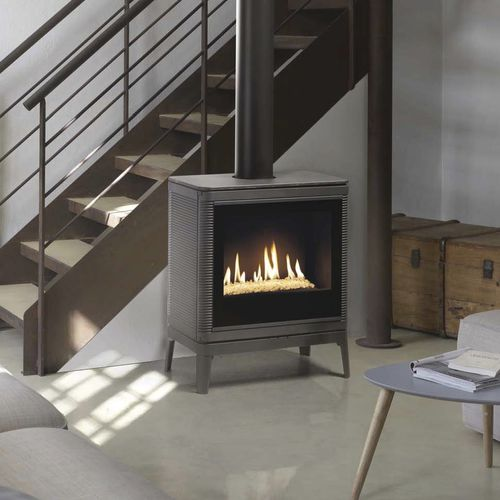 gas heating stove / contemporary / cast iron