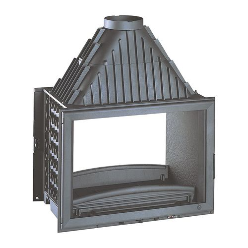 open wood hearth / 2-sided / metal / for fireplaces