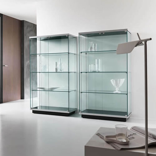 contemporary display case / glass / lacquered wood / illuminated
