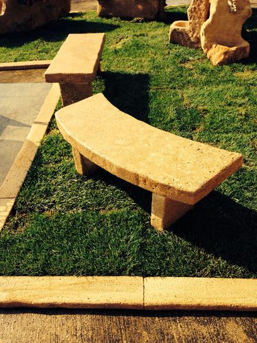public bench / rustic / stone / with backrest