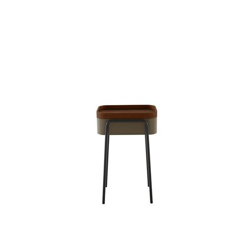 contemporary side table / American walnut / exotic wood / lacquered steel