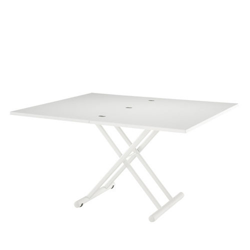 contemporary table / lacquered metal / rectangular / folding