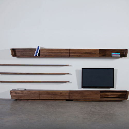 contemporary TV wall unit / cherrywood / walnut / maple