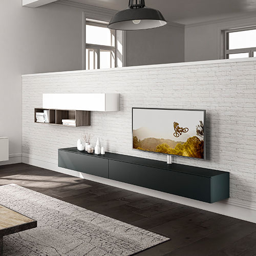 contemporary TV wall unit / lacquered wood / modular