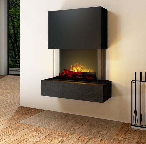 closed electric hearth / 3-sided / stainless steel