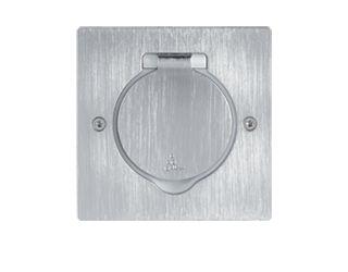 power socket / floor / metal / contemporary