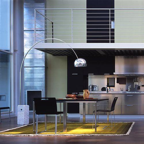 floor-standing lamp / contemporary / aluminum / stainless steel