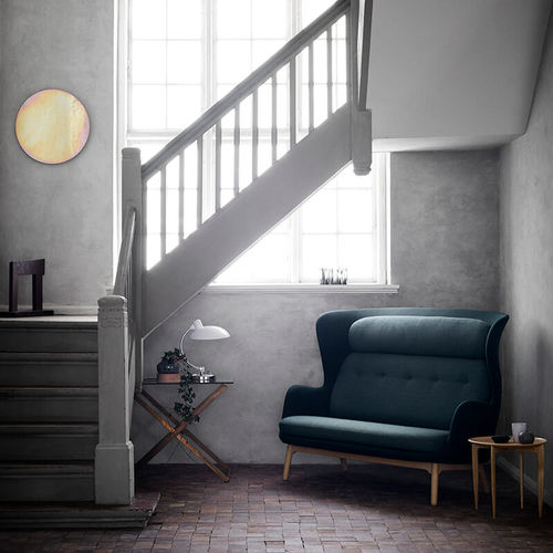 contemporary sofa / fabric / wooden / brushed aluminum
