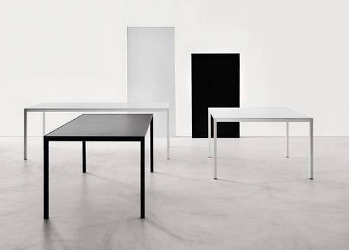 contemporary table / aluminum / aluminum base / rectangular