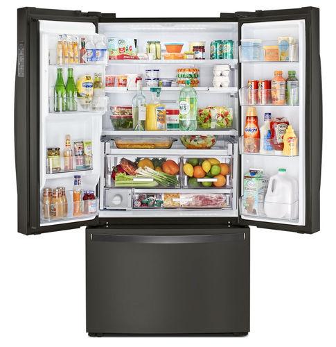 double door refrigerator-freezer / with drawer / black / energy-efficient