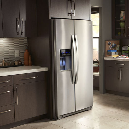 American refrigerator / stainless steel / with water dispenser / with ice dispenser
