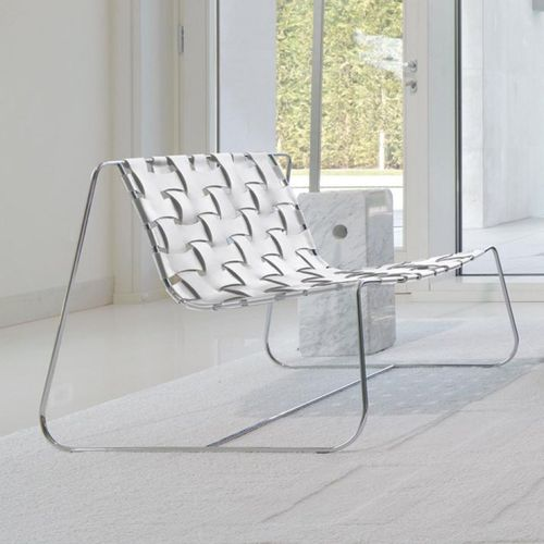 contemporary fireside chair / leather / metal / sled base