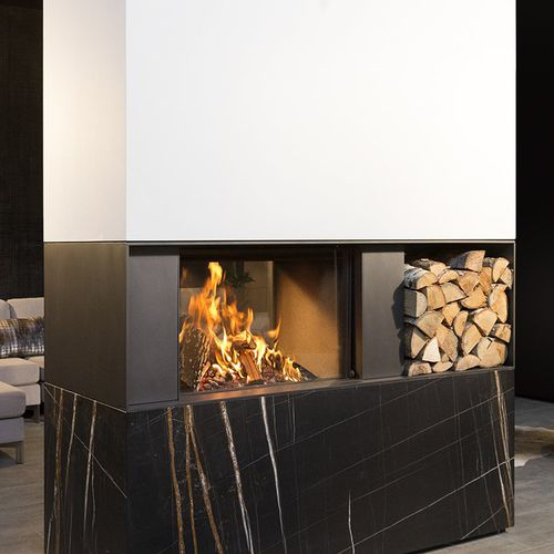wood-burning fireplace / contemporary / closed hearth / double-sided