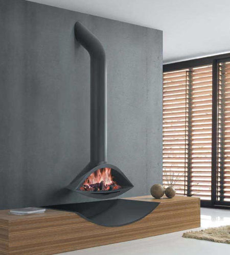 wood-burning fireplace / contemporary / open hearth / hanging