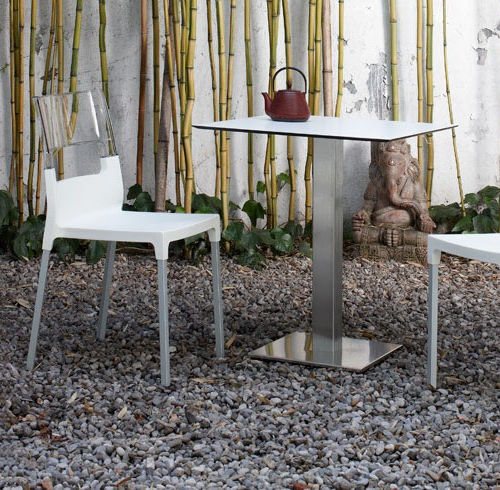 contemporary bistro table / steel / stainless steel / glass