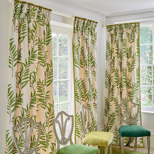 curtain fabric / floral pattern / cotton / linen