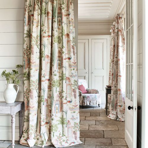 upholstery fabric / for curtains / patterned / cotton
