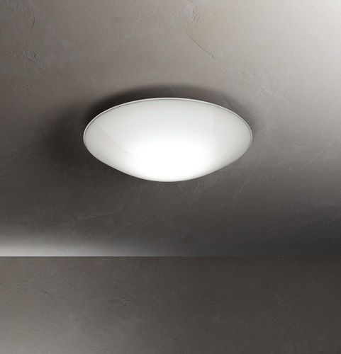 contemporary ceiling light / round / blown glass / aluminum