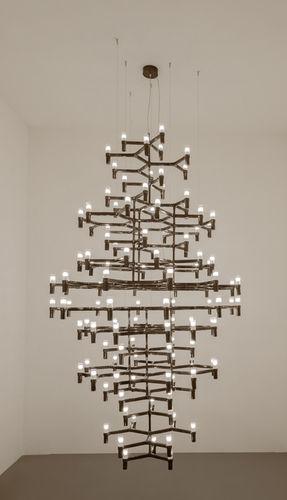 traditional chandelier / sandblasted glass / cast aluminum / LED