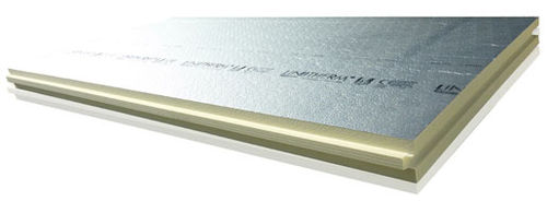 polyurethane (PUR) core two-component insulation board / 1 face in wood / for roofs