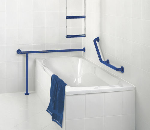 stainless steel grab bar / L-shaped / floor-mounted / commercial
