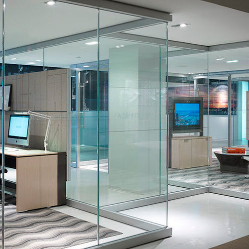 fixed partition / glazed / professional / for offices
