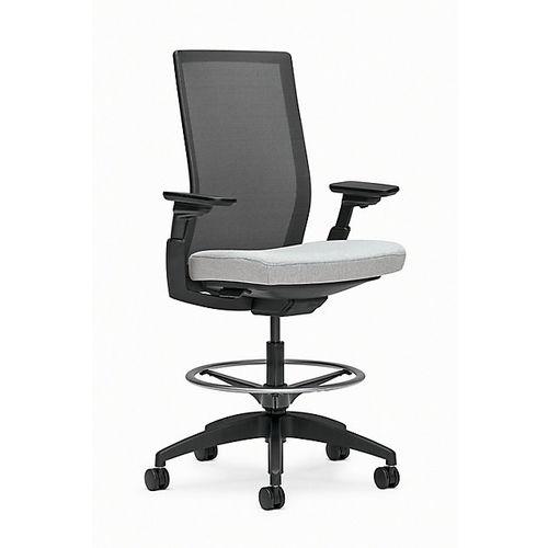 fabric task stool / on casters / adjustable-height / star base