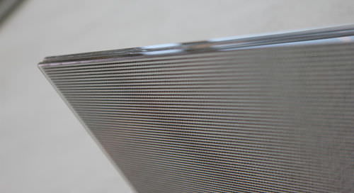 laminated glass panel / patterned / for interior / with metal insert