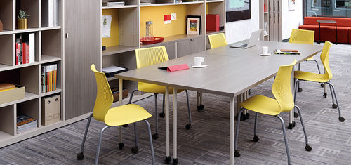 contemporary boardroom table / plywood / steel / rectangular