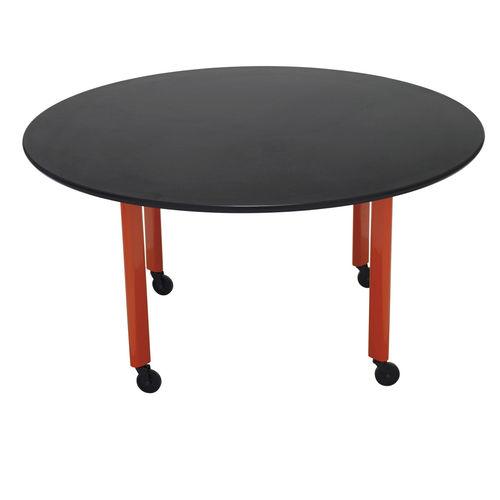 contemporary boardroom table / wood veneer / laminate / chromed metal