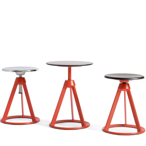 contemporary side table / ash / cast aluminum base / round