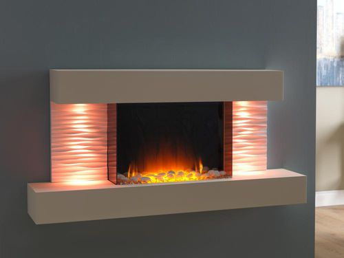 electric fireplace / contemporary / closed hearth / wall-mounted