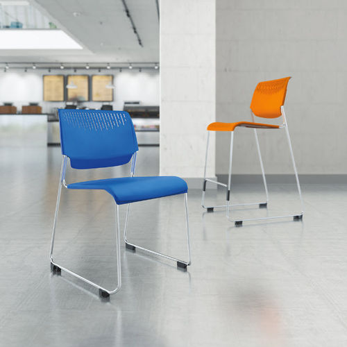 contemporary visitor chair / stackable / sled base / mesh