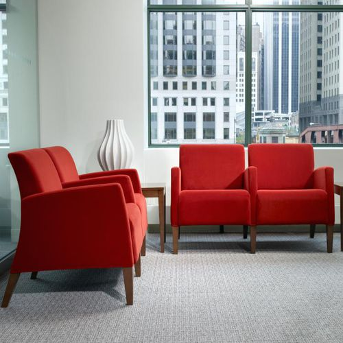 contemporary visitor armchair / fabric / wooden / with armrests