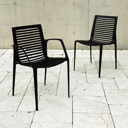 contemporary garden chair / with armrests / stackable / cast aluminum