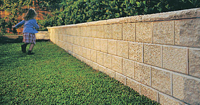solid concrete block / for retaining walls / for garden enclosures / stone look