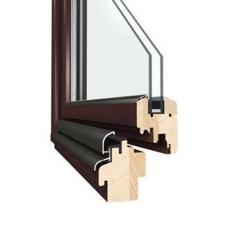 casement window / wooden / double-glazed / thermal break