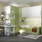 white children's bedroom furniture set / green / lacquered wood / lacquered aluminum